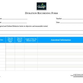 thumbnail of Duration Recording Sheet