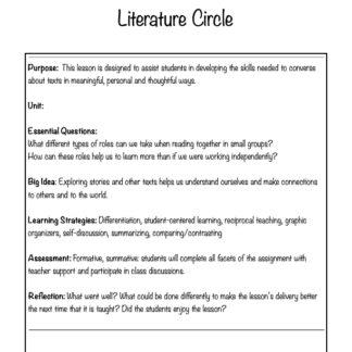 thumbnail of Literature Circle Lesson Plan